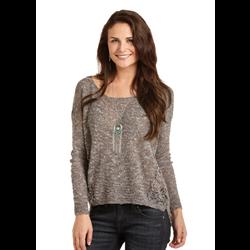 Rock & Roll Cowgirl Crochet Charcoal Sweater