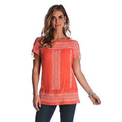 Wrangler Women's Embroidery Peasant Top Orange