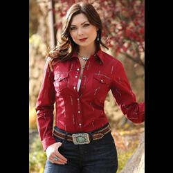 Cruel Girl Western Shirt Ruby Red
