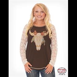 Chocolate Longhorn Print Lace T-shirt