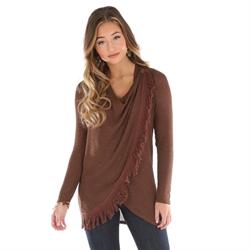 Western Asymmetrical Sweater Top Brown