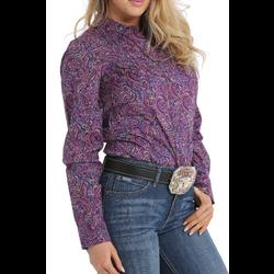 Cinch Women's Western Shirt Purple Paisley