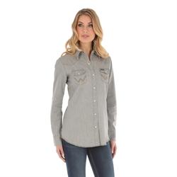 Wrangler Western Fashion Top Grey Denim