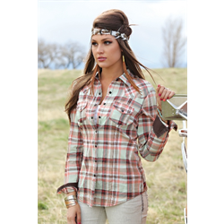 Cruel Girl Ladies Western Shirt Mint/Brown Plaid
