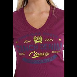 Women's Purple Cotton Jersey V-Neck Tee