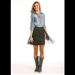 Rock & Roll Cowgirl Fringe Trim Skirt Black