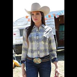 Cruel Girl Ladies Western Shirt Yellow/Gray Plaid